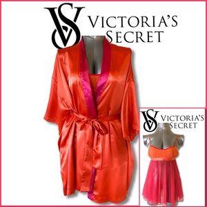 VS Pink Orange Color Block Satin Robe Mesh Chamise